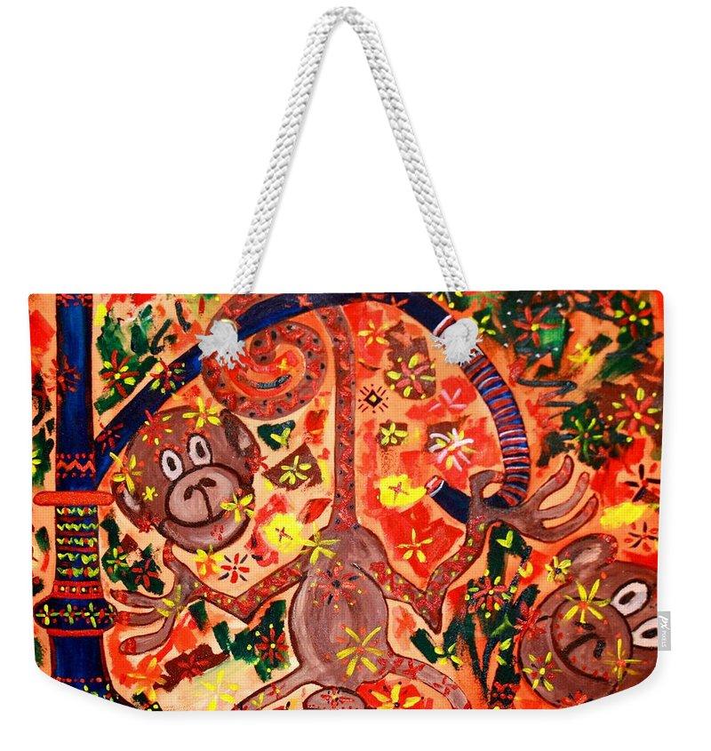 Contemporary Folk Weekender Tote Bag featuring the painting Jinga Monkeys by Fareeha Khawaja