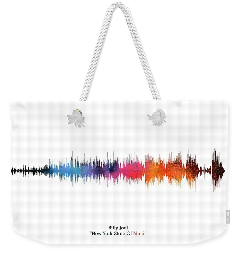 Music Poster Weekender Tote Bag featuring the digital art LAB NO 4 Billy Joel New York State of Mind Song Soundwave Print Music Lyrics Poster by Lab No 4 The Quotography Department