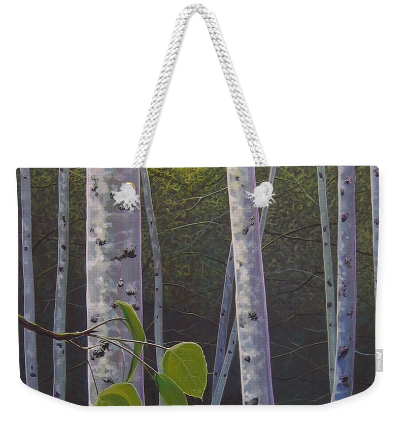 Aspen Weekender Tote Bag featuring the painting Light in the Forest by Hunter Jay