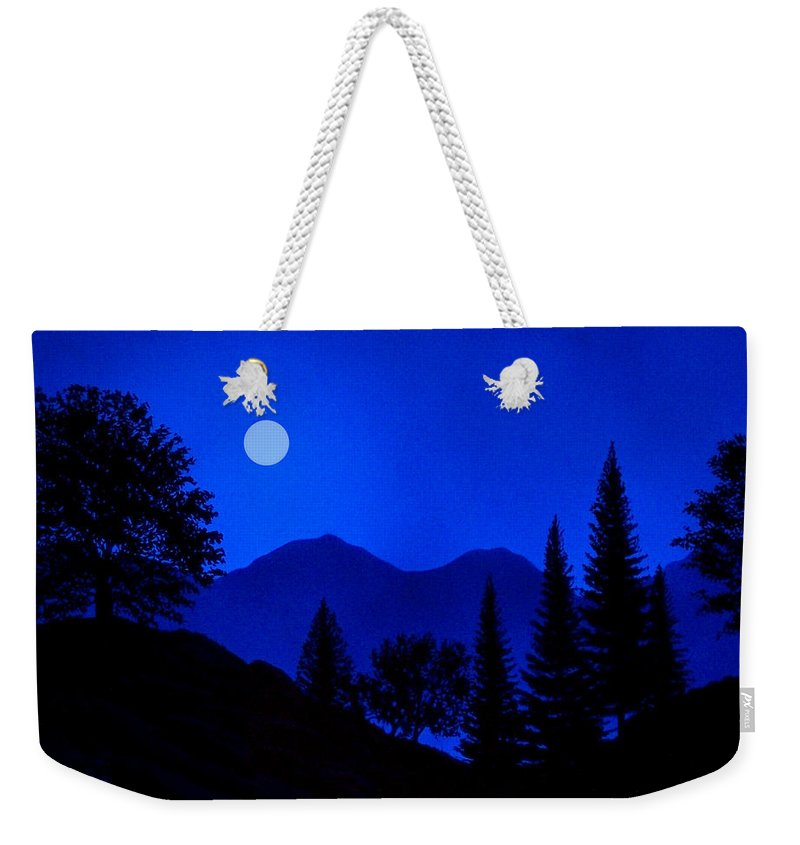 Night Weekender Tote Bag featuring the painting Mountain Moonrise by Frank Wilson