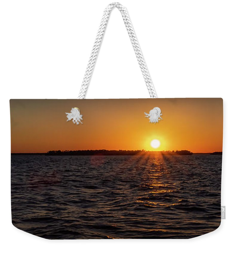 Sunset Weekender Tote Bag featuring the photograph 20-0608-0178 Pan by Anthony Roma