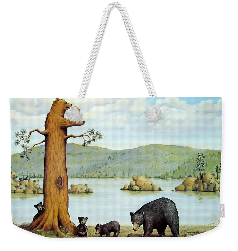Bears Weekender Tote Bag featuring the painting 27 Bears by Jerome Stumphauzer