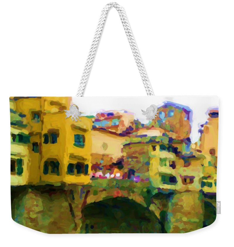 Florence Weekender Tote Bag featuring the mixed media Florence by Asbjorn Lonvig