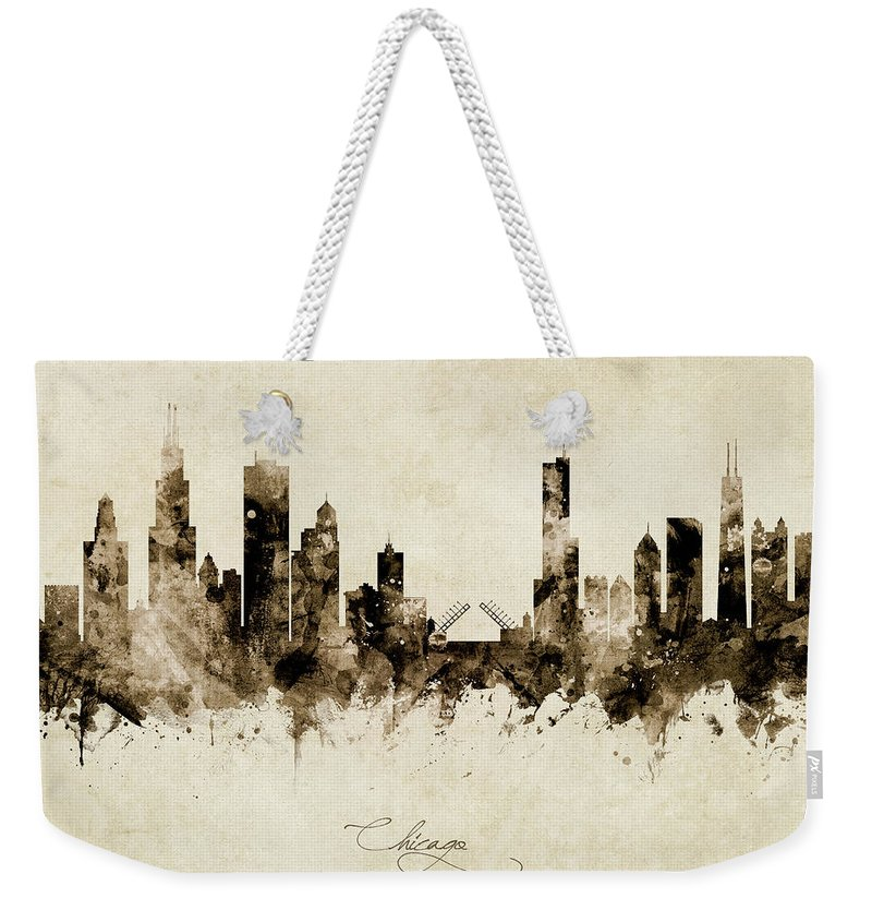 Chicago Weekender Tote Bag featuring the photograph Chicago Illinois Skyline by Michael Tompsett
