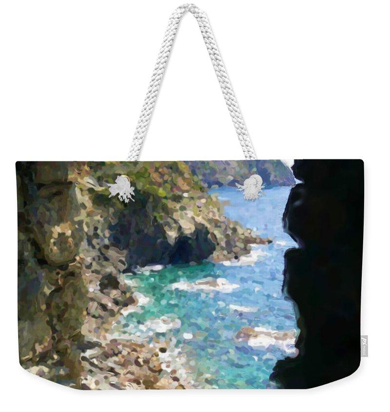 Cinque Terre Weekender Tote Bag featuring the mixed media Cinque Terre by Asbjorn Lonvig