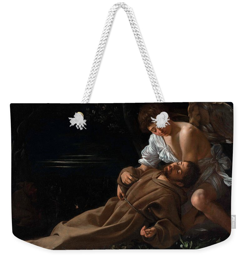 Caravaggio Weekender Tote Bag featuring the painting Saint Francis of Assisi in Ecstasy by Caravaggio
