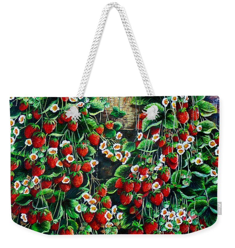 Fruit Painting Strawberry Painting Red Floral Painting Hanging Strawberry Basket Painting Botanical Painting Fruit Painting Weekender Tote Bag featuring the painting A Berry Sweet Basket by Karin Dawn Kelshall- Best