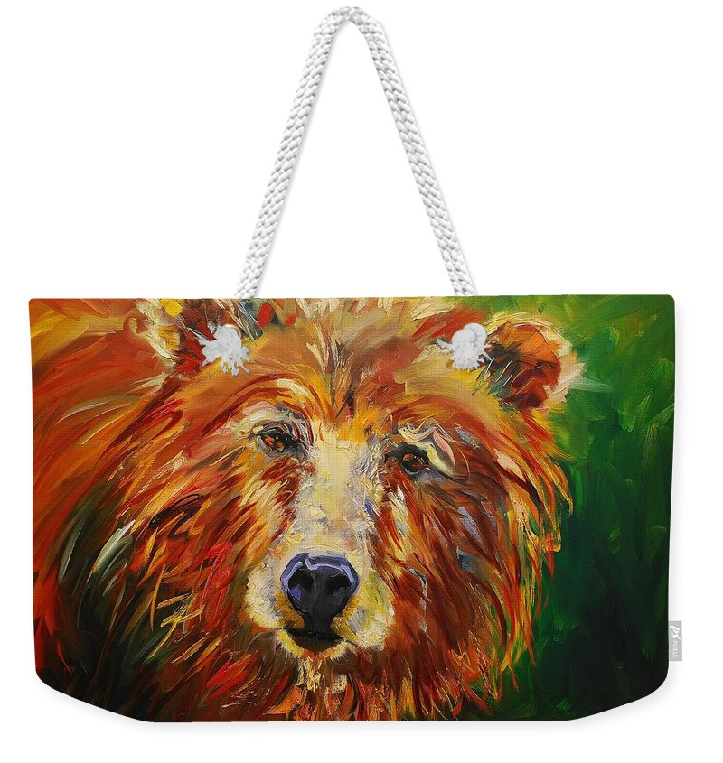 Bear Weekender Tote Bag featuring the painting A Bunch Of Bear by Diane Whitehead