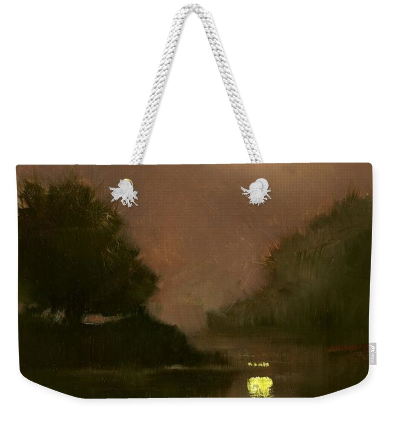 Miniatures Weekender Tote Bag featuring the painting A Clear Evening by Jim Gola
