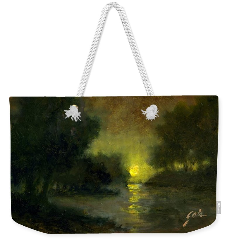 Miniaturesoil Paintings Weekender Tote Bag featuring the painting A Dusky Evening by Jim Gola