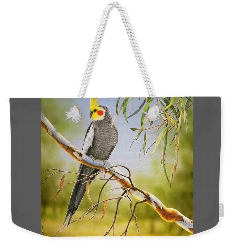 Bird Weekender Tote Bag featuring the painting A Friendly Face - Cockatiel by Frances McMahon