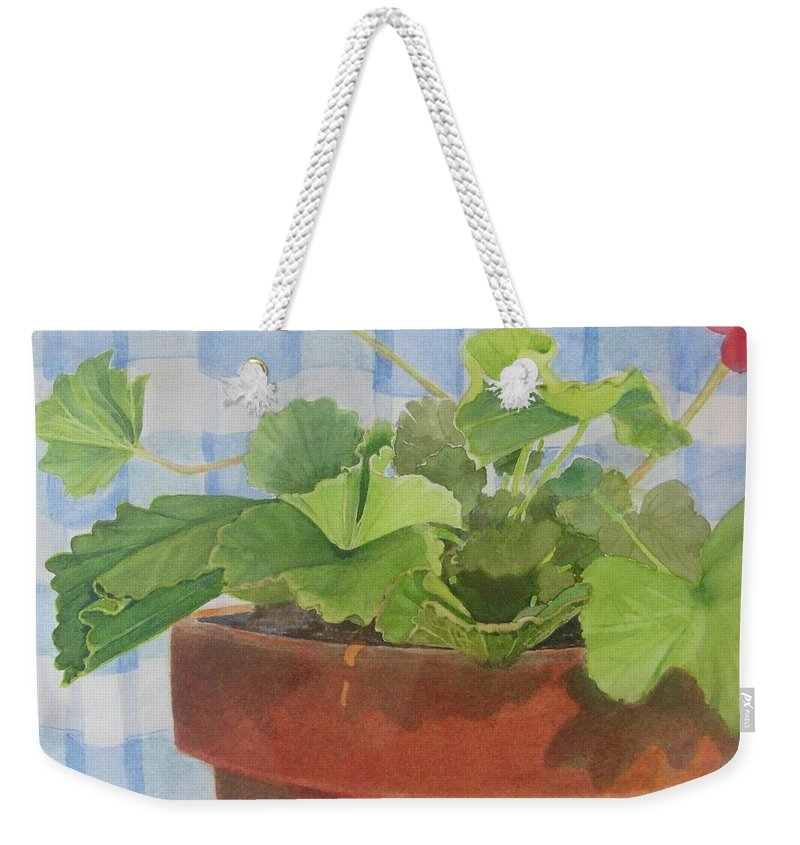 Flowers Weekender Tote Bag featuring the painting A Geranium is a Geranium is a Geranium...... by Mary Ellen Mueller Legault