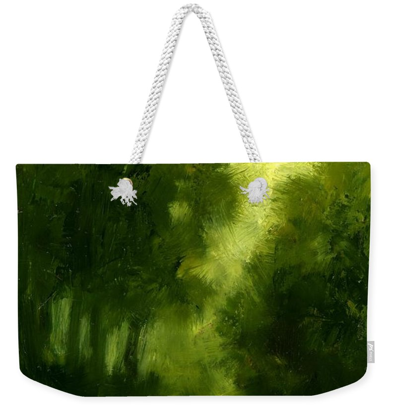 Miniature Oil Paintings Weekender Tote Bag featuring the painting A Hazy Day by Jim Gola