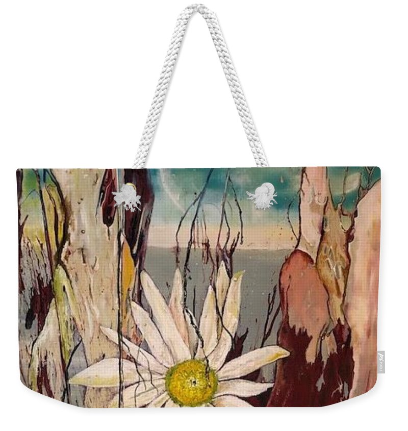 Trees Weekender Tote Bag featuring the painting A Moment by Peggy Blood