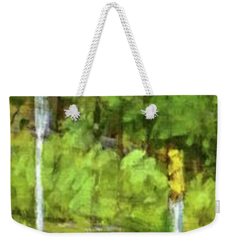 Traffic Weekender Tote Bag featuring the painting A Slice Of Broadway by Peter Salwen