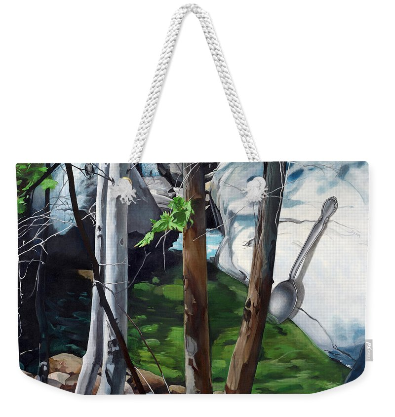 Landscape Weekender Tote Bag featuring the painting A Taste of Nature by Snake Jagger