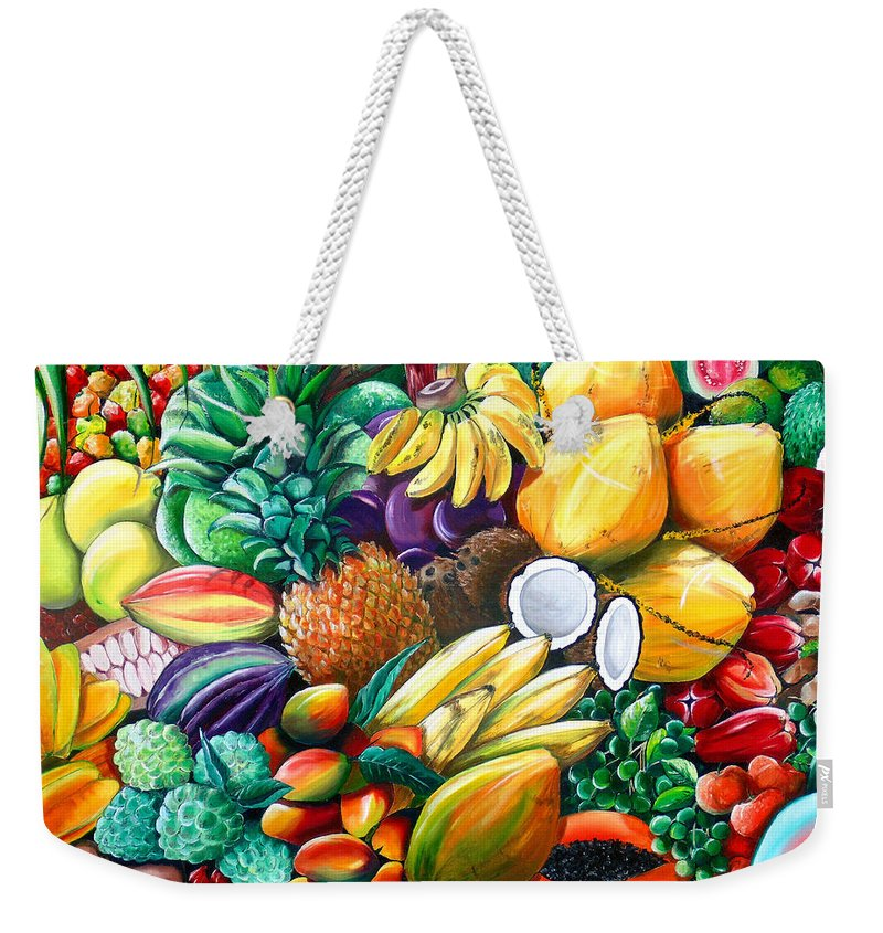 Caribbean Fruit Painting Tropical Fruit Painting Caribbean Pineapple Mangoes Bananas Coconut Watermelon Tropical Fruit Painting Weekender Tote Bag featuring the painting A Taste Of The Islands by Karin Dawn Kelshall- Best