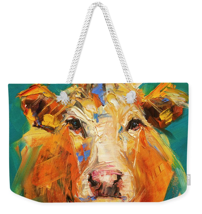 Cow Weekender Tote Bag featuring the painting Abstract Cow Moo by Diane Whitehead