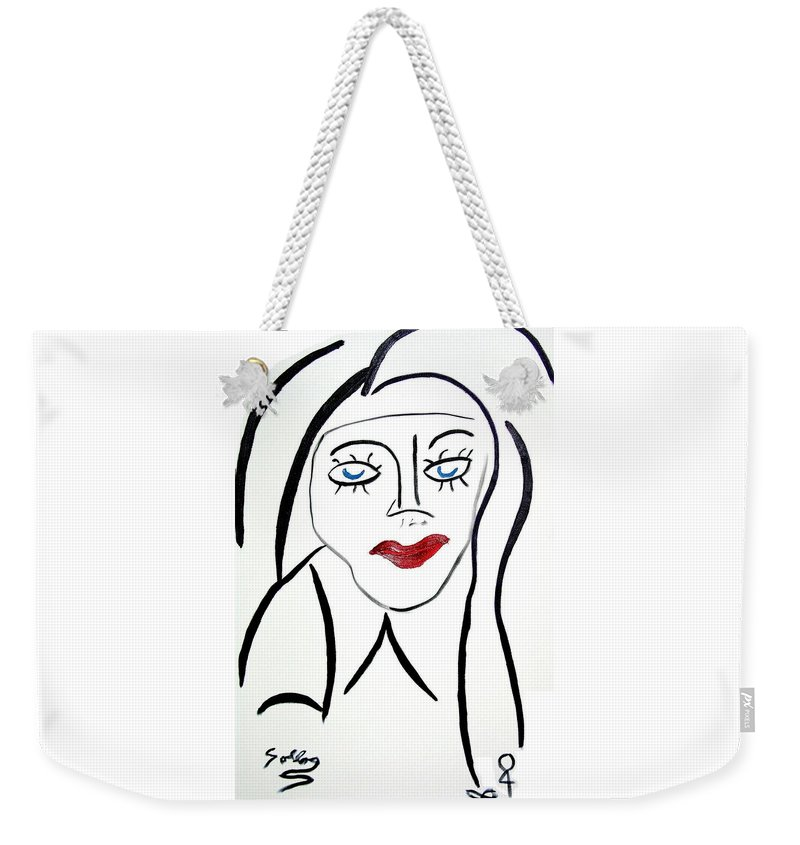 Abstract Weekender Tote Bag featuring the painting Abstract Female Face by Sollog Artist