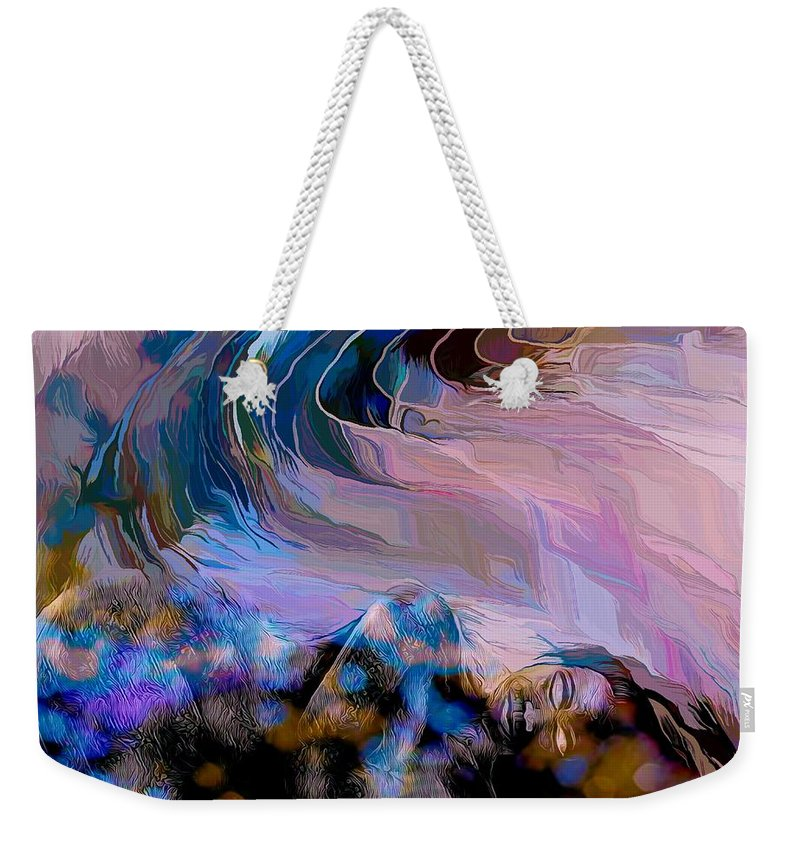 Modern Abstract Art Weekender Tote Bag featuring the mixed media Abstract Island Girl Slumbering On The Beach by Joan Stratton
