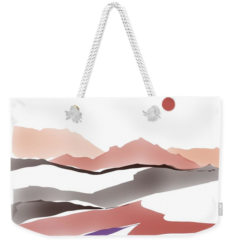 Southwestern Weekender Tote Bag featuring the painting Abstract Rocks by Luisa Millicent