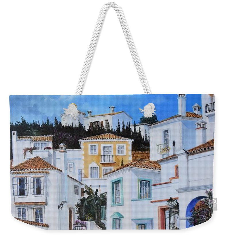City Weekender Tote Bag featuring the painting Afternoon Light In Montenegro by Sinisa Saratlic