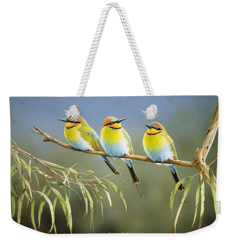 Bird Weekender Tote Bag featuring the painting Afternoon Repose - Rainbow Bee-Eaters by Frances McMahon