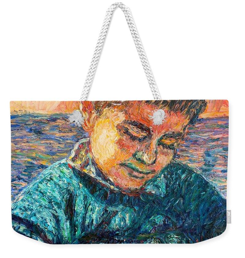 Portrait Weekender Tote Bag featuring the painting Alan Reading by Kendall Kessler
