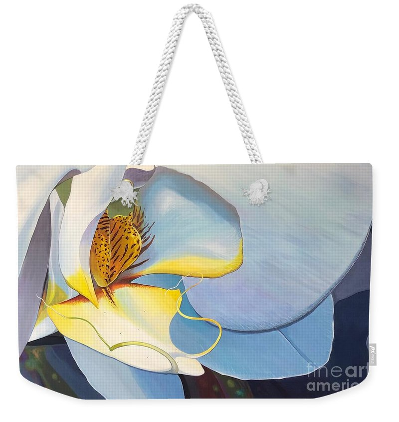 Orchid Weekender Tote Bag featuring the painting All You Need is Now by Hunter Jay
