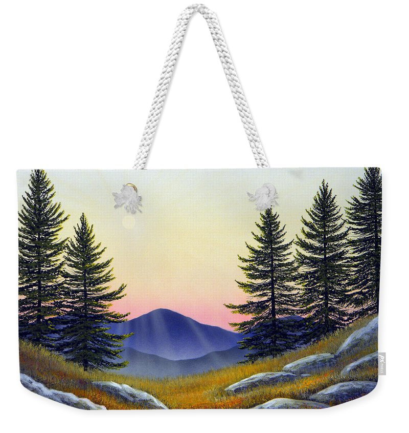 Landscape Weekender Tote Bag featuring the painting Alpine Meadow by Frank Wilson