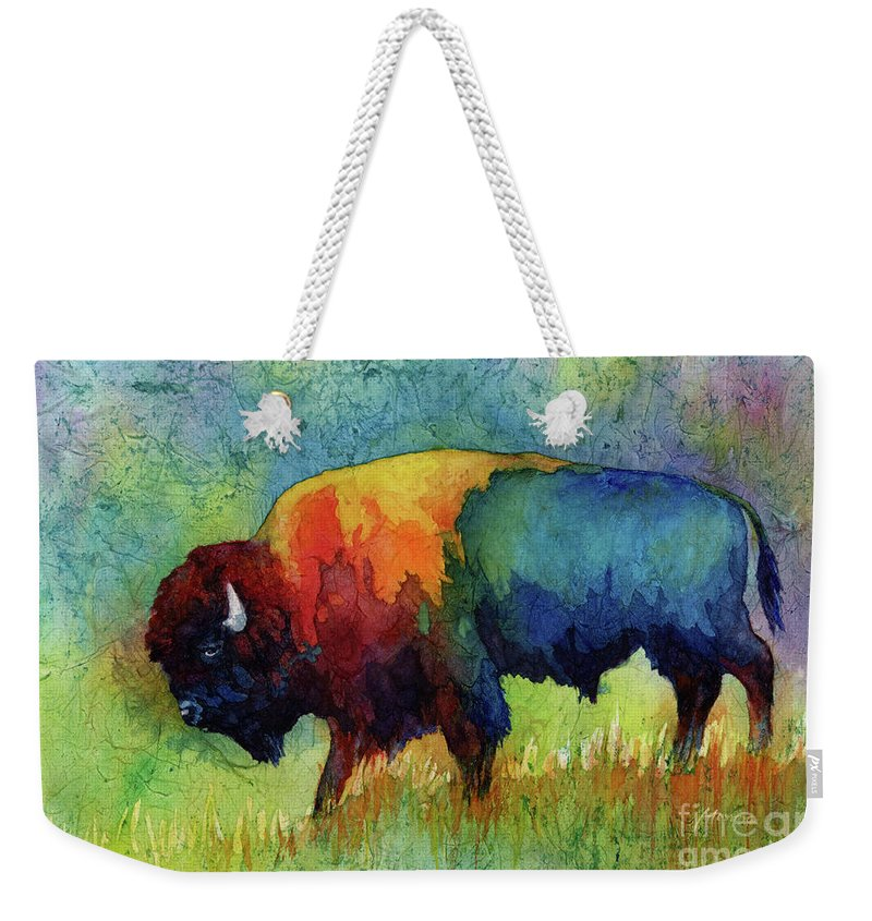 Bison Weekender Tote Bag featuring the painting American Buffalo III by Hailey E Herrera