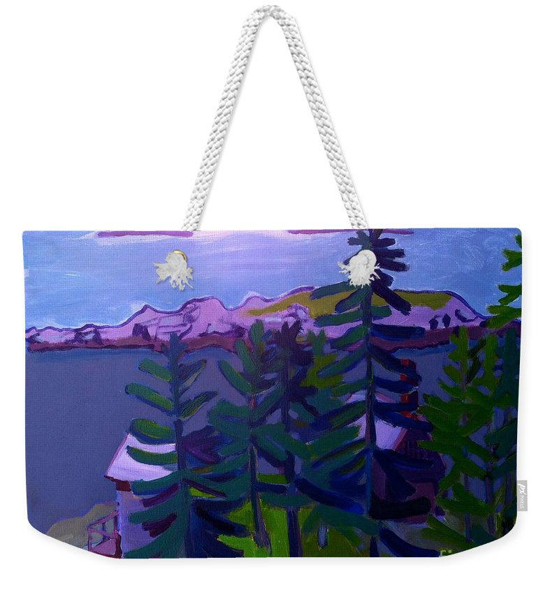 Seascape Weekender Tote Bag featuring the painting Among the Pines by Debra Bretton Robinson