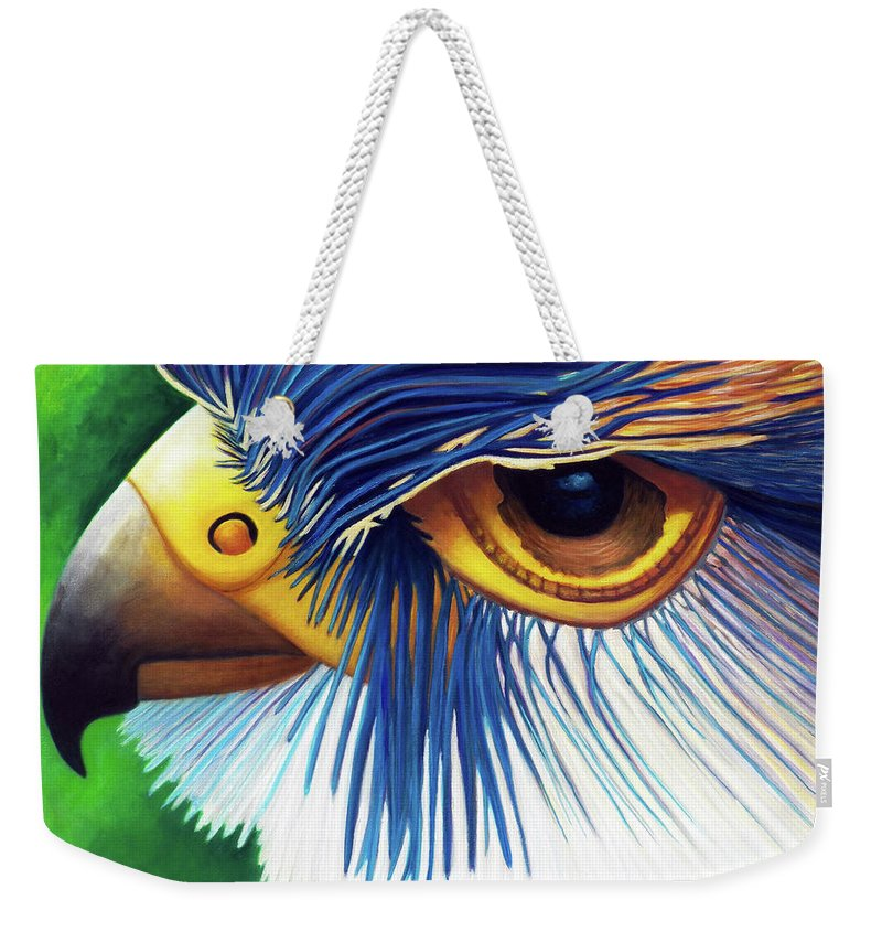 Falcon Weekender Tote Bag featuring the painting Another Door Opens by Brian Commerford