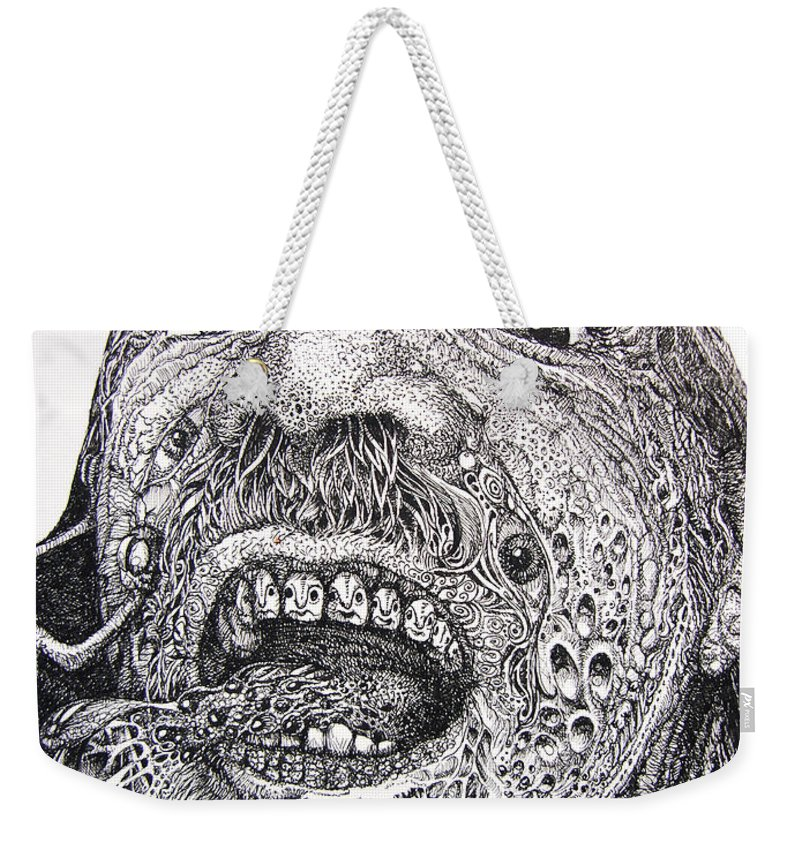 Surrealist Weekender Tote Bag featuring the drawing Antipods Screamer by Otto Rapp