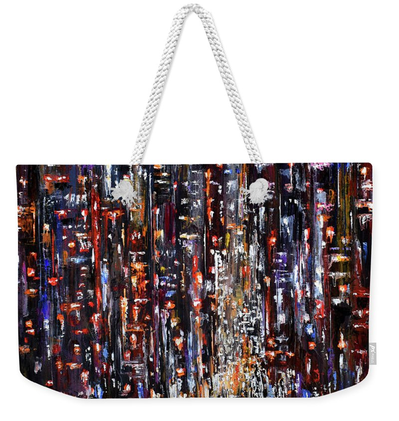 Nyc Weekender Tote Bag featuring the painting Apple at night by Debra Hurd
