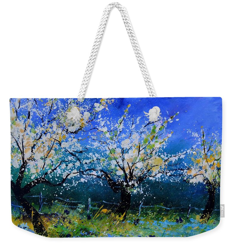Landscape Weekender Tote Bag featuring the painting Appletrees in spring by Pol Ledent