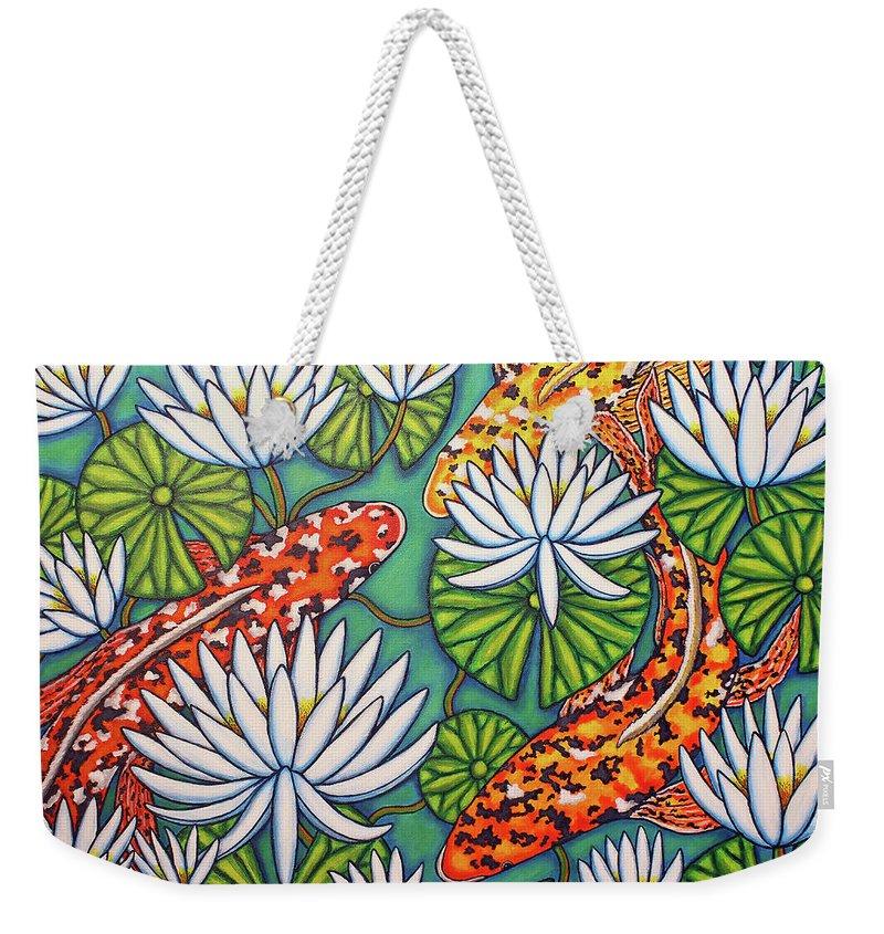 Koi Weekender Tote Bag featuring the painting Aquatic Jewels by Lisa Lorenz