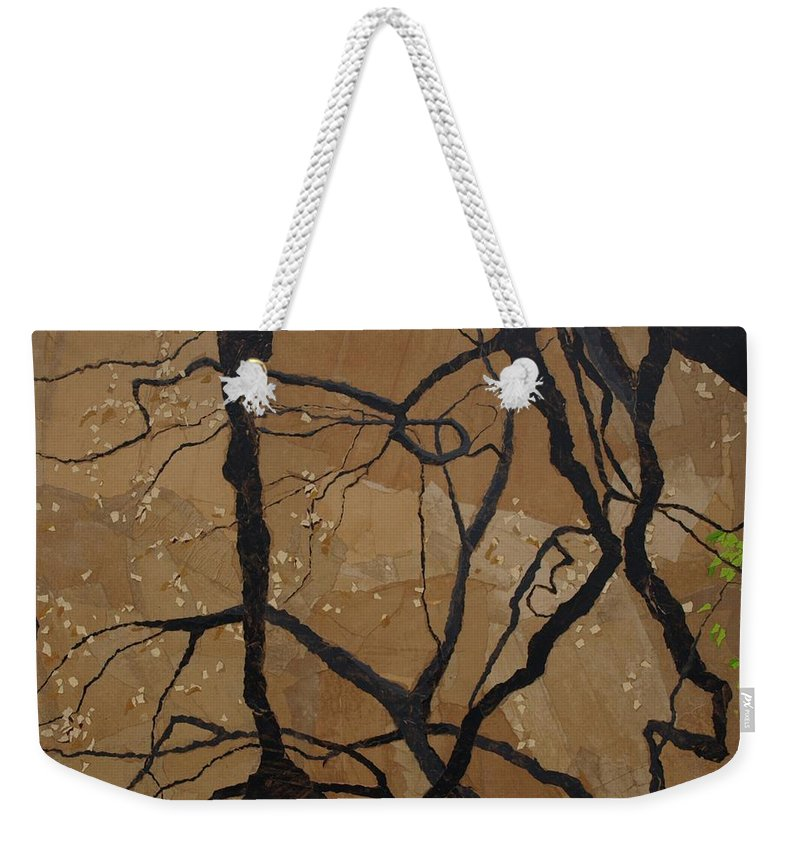 Abstract Tree Branches Weekender Tote Bag featuring the painting Arboretum Dancers by Leah Tomaino