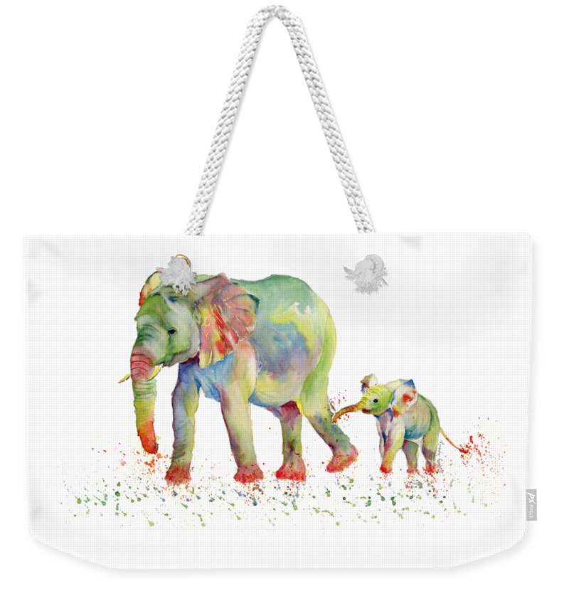 Elephant Weekender Tote Bag featuring the painting Elephant Family Watercolor by Melly Terpening