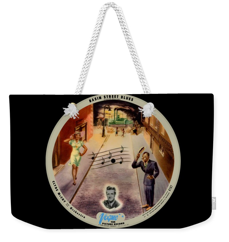 Vogue Picture Record Weekender Tote Bag featuring the digital art Vogue Record Art - R 707 - P 7, Blue Logo by John Robert Beck