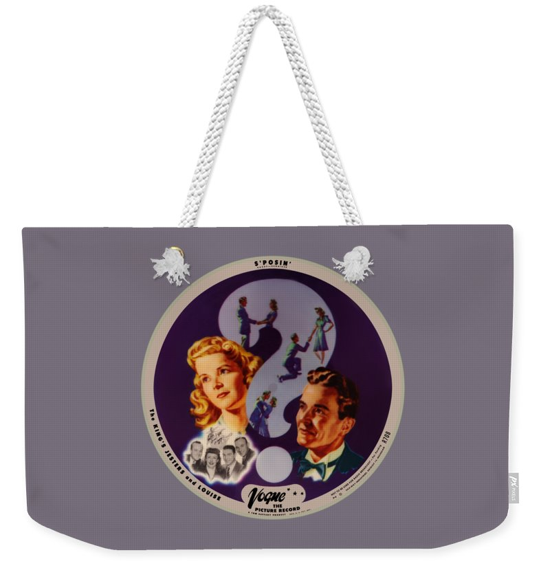 Vogue Picture Record Weekender Tote Bag featuring the digital art Vogue Record Art - R 708 - P 4 by John Robert Beck