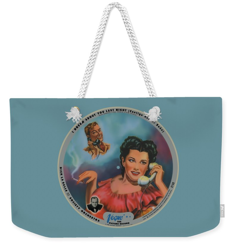 Vogue Picture Record Weekender Tote Bag featuring the digital art Vogue Record Art - R 740 - P 85 by John Robert Beck