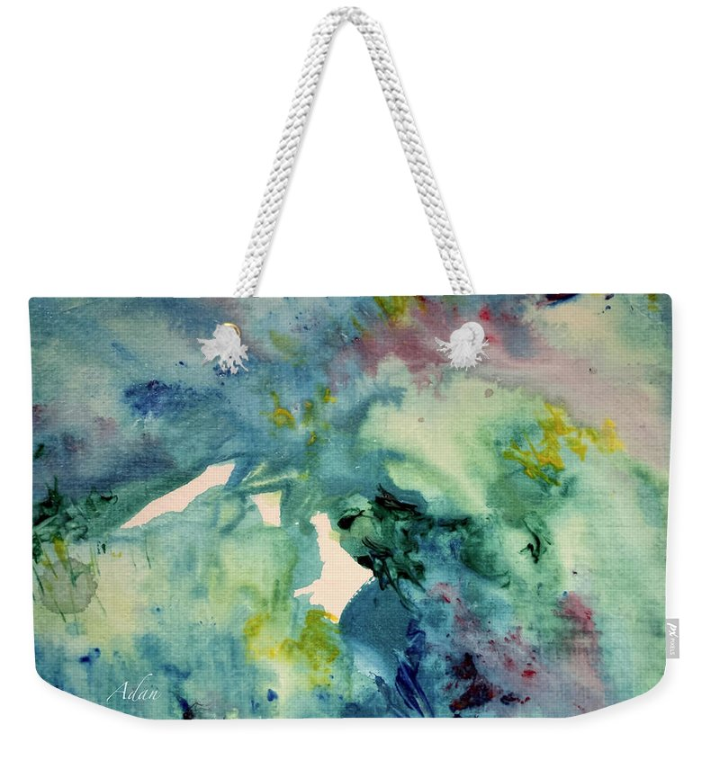 Paintings By Felipe Adan Lerma Weekender Tote Bag featuring the painting Ridges Of Spring Light 6x6 Acrylic Watercolor #2 by Felipe Adan Lerma