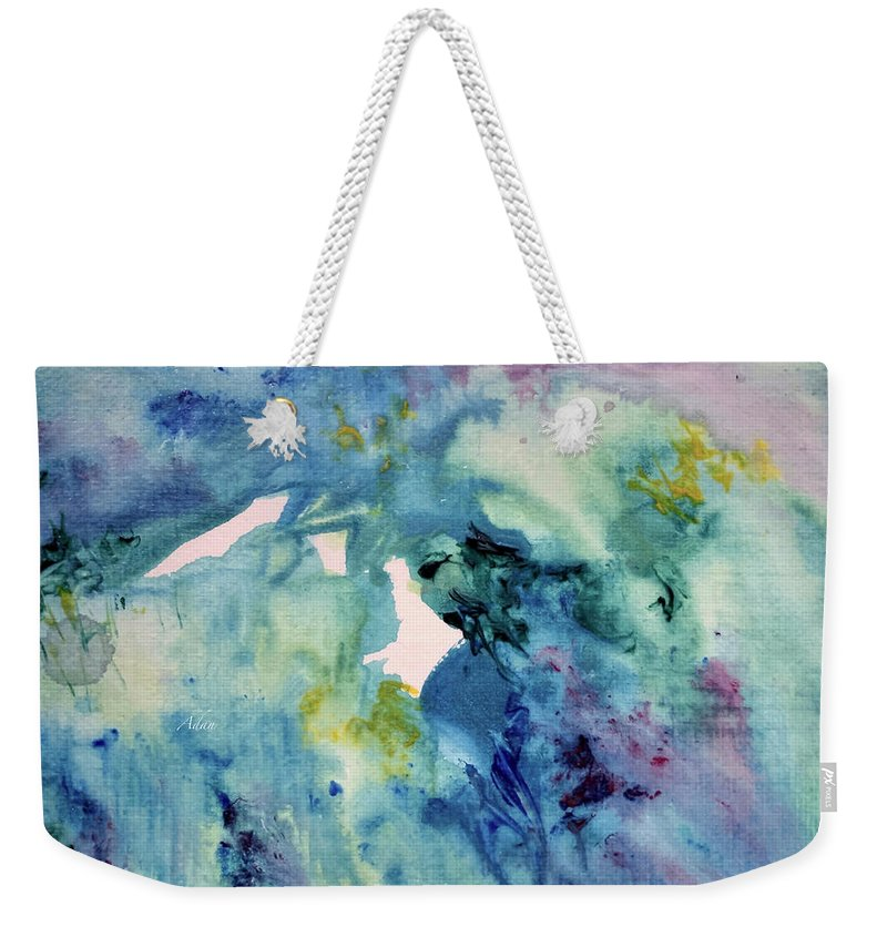 Blue Abstract Weekender Tote Bag featuring the painting Ridges of Spring Light 6x6 Acrylic Watercolor #2 by Felipe Adan Lerma