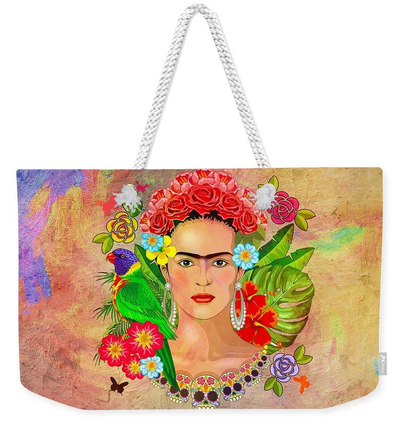 Friday Kahlua Weekender Tote Bag featuring the digital art Frida Kahlo by Mark Ashkenazi
