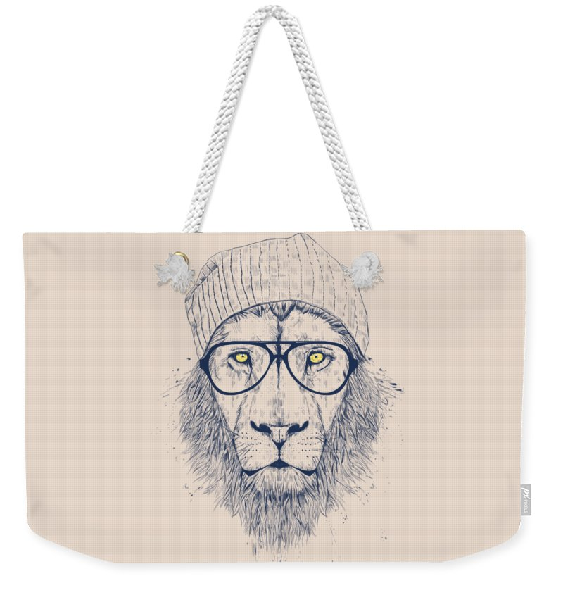 Lion Weekender Tote Bag featuring the drawing Cool lion by Balazs Solti
