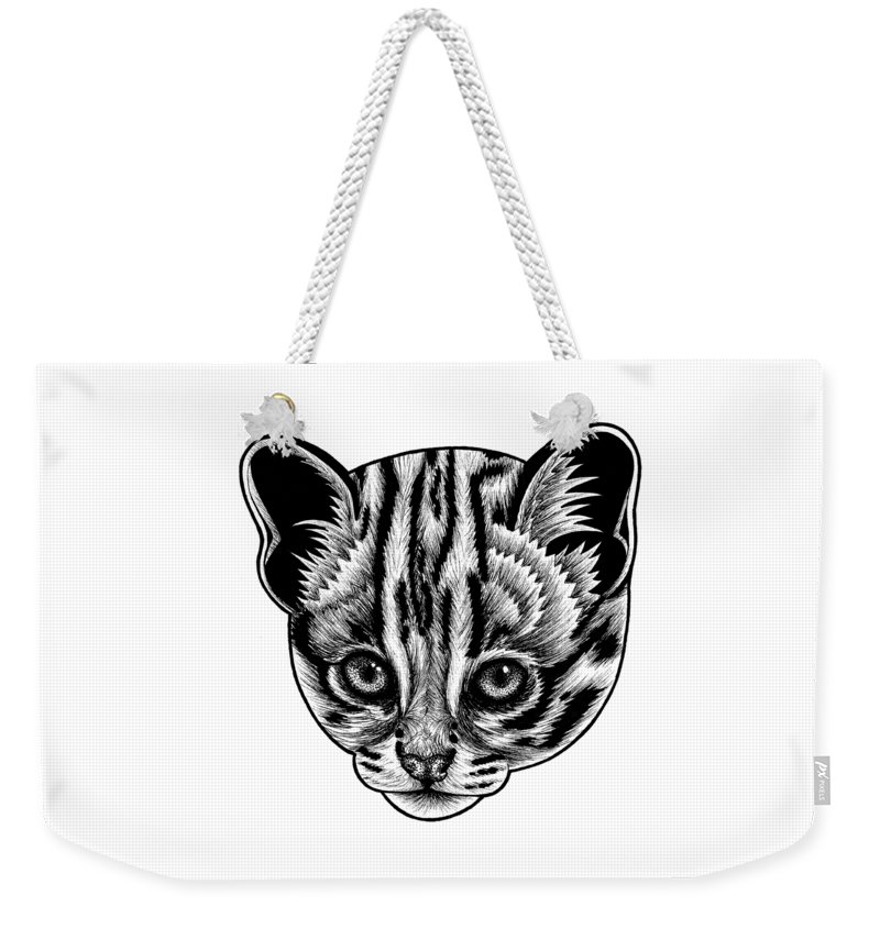 Leopard Weekender Tote Bag featuring the drawing Asian leopard cat kitten - ink illustration by Loren Dowding