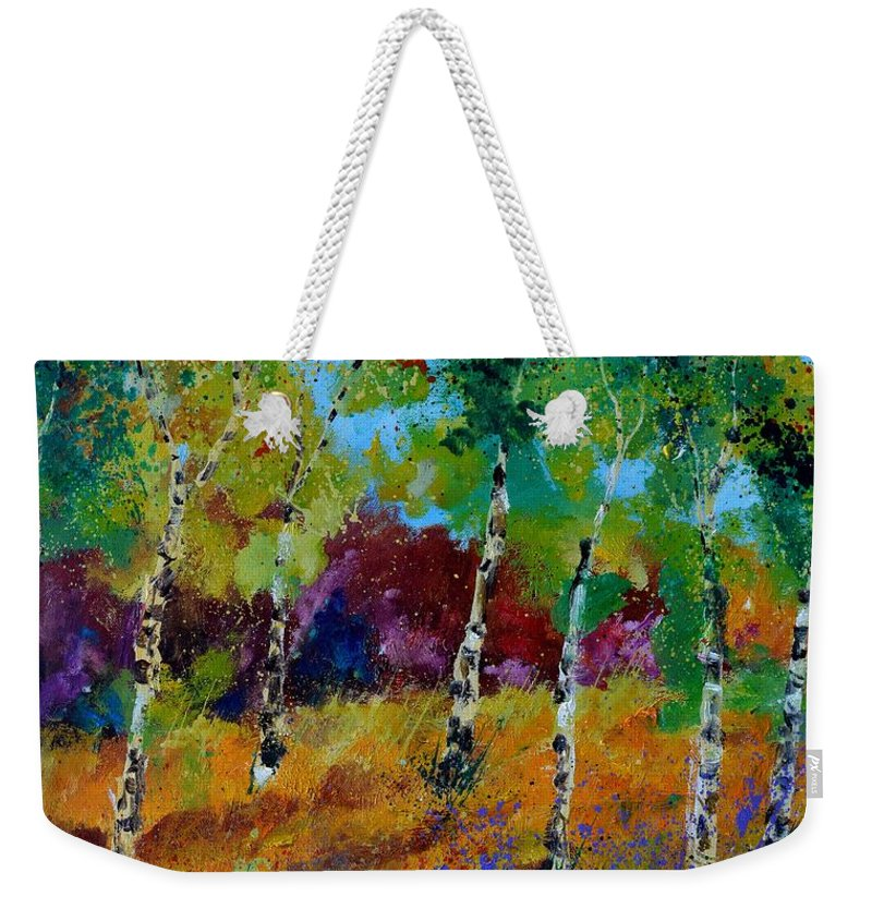 Landscape Weekender Tote Bag featuring the painting Aspen trees in autumn by Pol Ledent