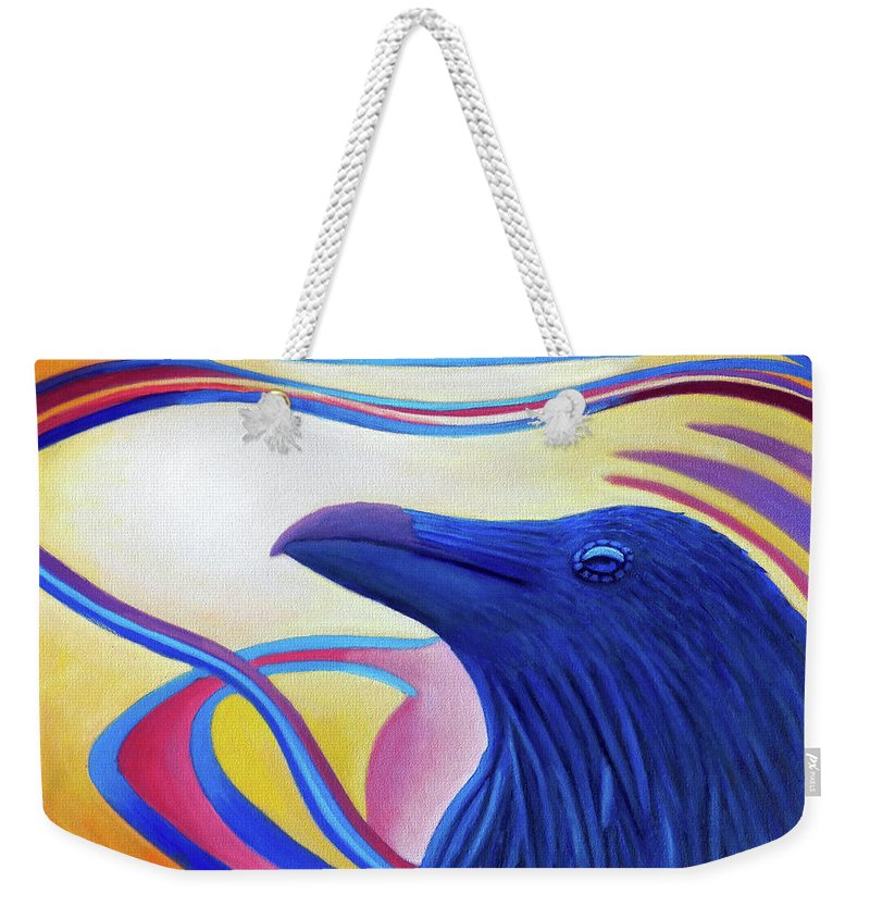 Raven Weekender Tote Bag featuring the painting Astral Raven by Brian Commerford