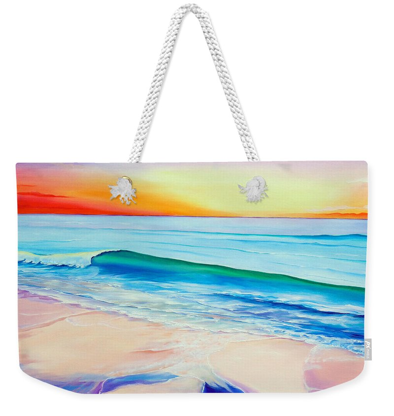 Sunset Painting Sea Painting Beach Painting Sunset Painting  Waves Painting Beach Painting Seaside Painting Seagulls Painting Weekender Tote Bag featuring the painting At the end of a perfect day by Karin Dawn Kelshall- Best